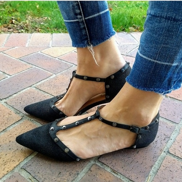 Halogen Olson Pointed Toe Studded T Strap Flats